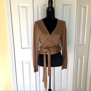 Like New Express Cocoa Brown Wrap Sweater, Size Lg